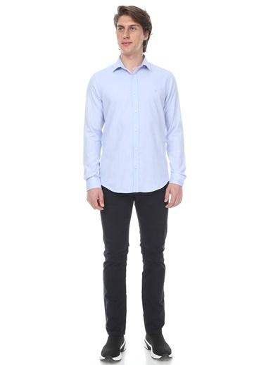 Abbate Klasık Yaka Armürlü Slımfıt Gömlek Mavi